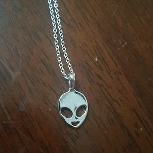 New sterling silver filled alien necklace